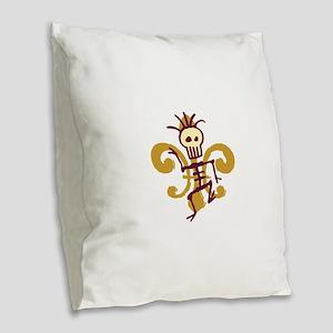 Bone Man Fleur De Lis Burlap Throw Pillow