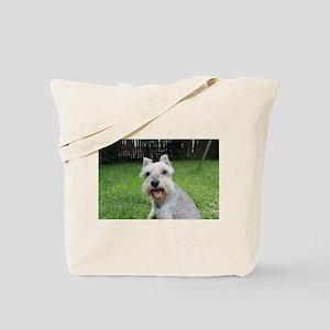 Precious Mini Schnauzer on Grass Tote Bag