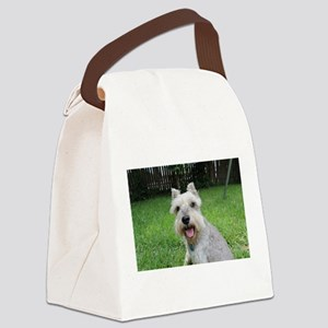 Precious Mini Schnauzer on Grass Canvas Lunch Bag