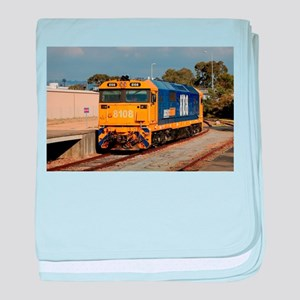 Train locomotive engine, blue & y baby blanket