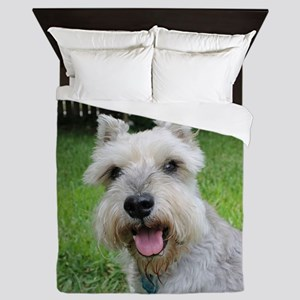 Precious Mini Schnauzer on Grass Queen Duvet