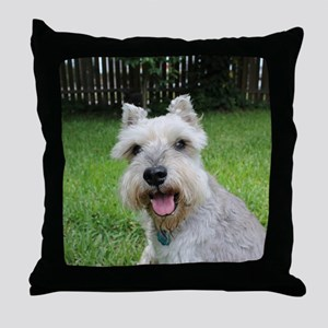 Precious Mini Schnauzer on Grass Throw Pillow