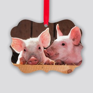 Two Adorable Little Pigs Picture Ornament