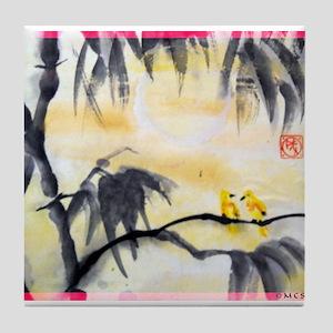 Asian art! Birds, bamboo! Tile Coaster