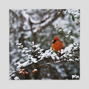 Beautiful Cardinal In the Snow Queen Duvet