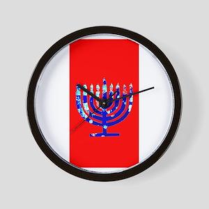 Red Vibrant Menorah Hanukkah 4Jason Wall Clock