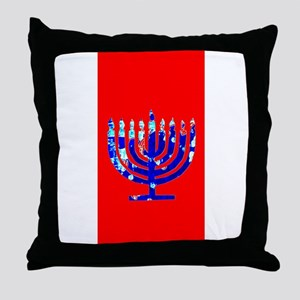 Red Vibrant Menorah Hanukkah 4Jason Throw Pillow