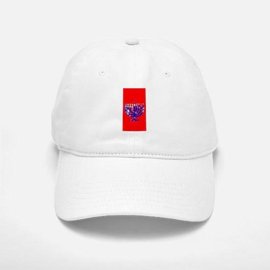 Red Vibrant Menorah Hanukkah 4Jason Baseball Baseball Cap