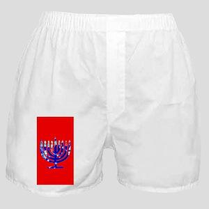 Red Vibrant Menorah Hanukkah 4Jason Boxer Shorts