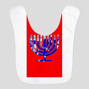 Red Vibrant Menorah Hanukkah 4J Polyester Baby Bib