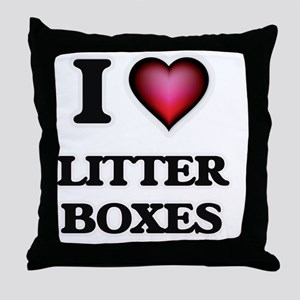I love Litter Boxes Throw Pillow
