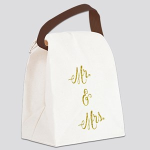 Wedding Gold Faux Foil Glittery M Canvas Lunch Bag