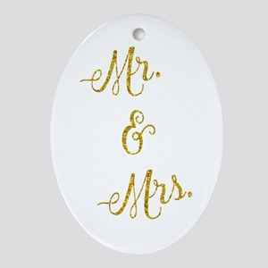 Wedding Gold Faux Foil Glittery Meta Oval Ornament