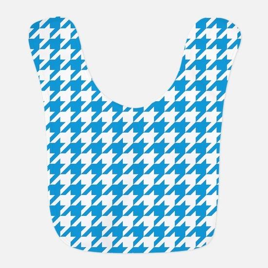 Blue, Deep Sky: Houndstooth Che Polyester Baby Bib