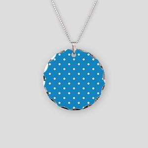 Blue, Deep Sky: Polka Dots P Necklace Circle Charm