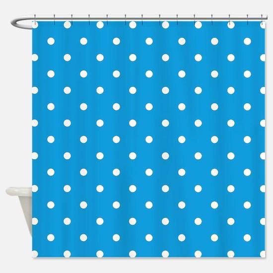 Blue, Deep Sky: Polka Dots Pattern Shower Curtain