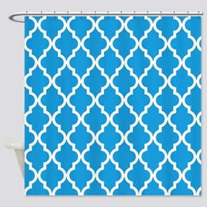Blue, Deep Sky: Quatrefoil Moroccan Shower Curtain
