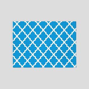 Blue, Deep Sky: Quatrefoil Moroccan 5'x7'Area Rug