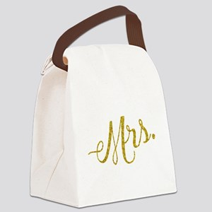 Mrs. Gold Faux Foil Glitter Metal Canvas Lunch Bag