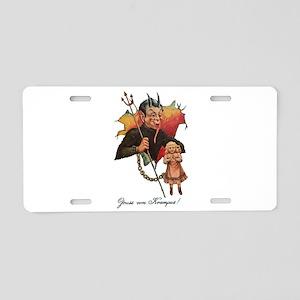 Krampus Breaking Through Aluminum License Plate