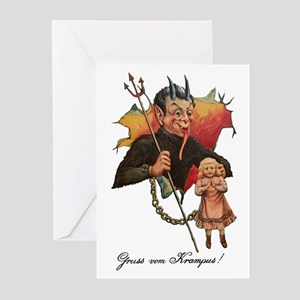 Krampus Breaking Through Greeting Cards