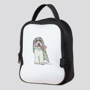 Beardie with Candy Cane Neoprene Lunch Bag