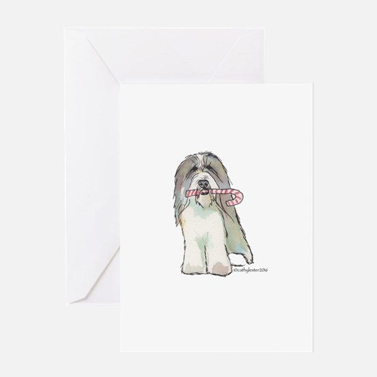 Beardie with Candy Cane Greeting Card