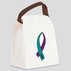 Suicide Awareness Ribbon Canvas Lunch Bag