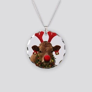 Christmas Cow Necklace Circle Charm