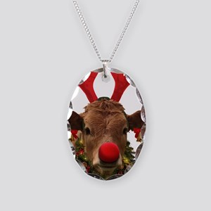 Christmas Cow Necklace Oval Charm