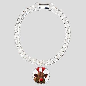 Christmas Cow Charm Bracelet, One Charm
