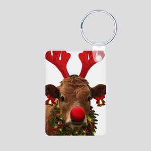 Christmas Cow Aluminum Photo Keychain