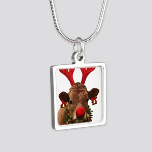 Christmas Cow Silver Square Necklace