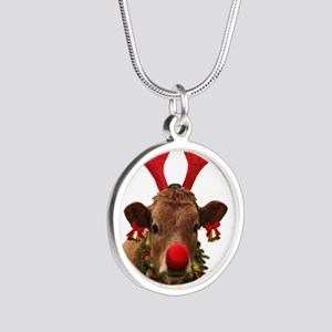 Christmas Cow Silver Round Necklace
