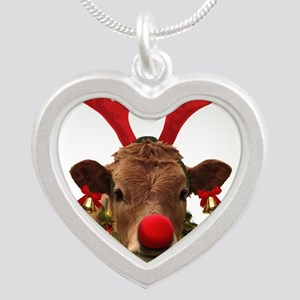 Christmas Cow Silver Heart Necklace