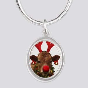 Christmas Cow Silver Oval Necklace