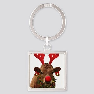 Christmas Cow Square Keychain