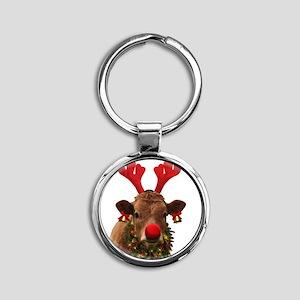 Christmas Cow Round Keychain
