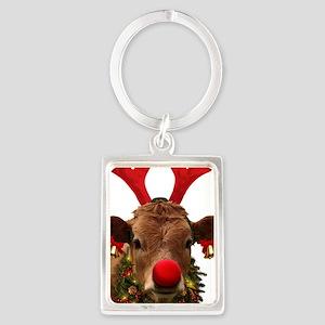Christmas Cow Portrait Keychain