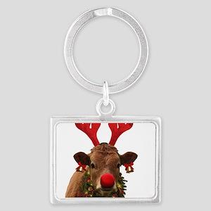 Christmas Cow Landscape Keychain