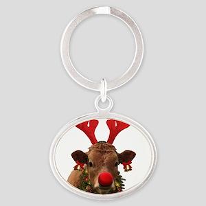 Christmas Cow Oval Keychain