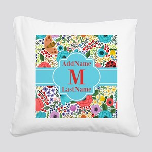 Painted Floral Personalized M Square Canvas Pillow