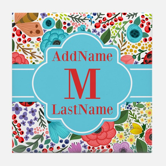 Painted Floral Personalized Monogram Tile Coaster