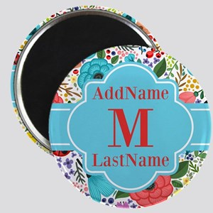 Painted Floral Personalized Monogram Magnet