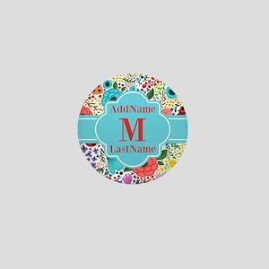 Painted Floral Personalized Monogram Mini Button