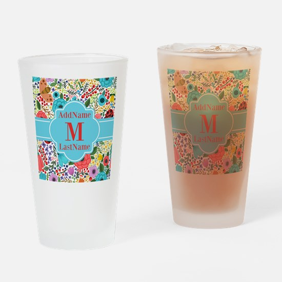 Painted Floral Personalized Monogra Drinking Glass
