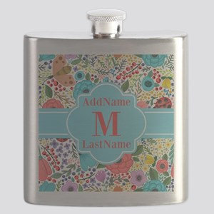 Painted Floral Personalized Monogram Flask