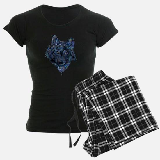 Wild Blue Wolf Pajamas