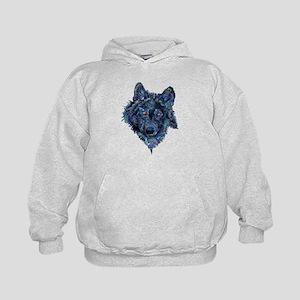 Wild Blue Wolf Kids Hoodie