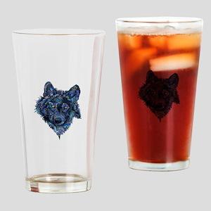 Wild Blue Wolf Drinking Glass